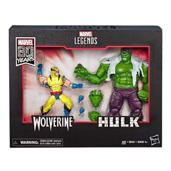 "Marvel Legends 80th Anniversary Hulk Vs. Wolverine 6"" Action Figure 2-Pack"